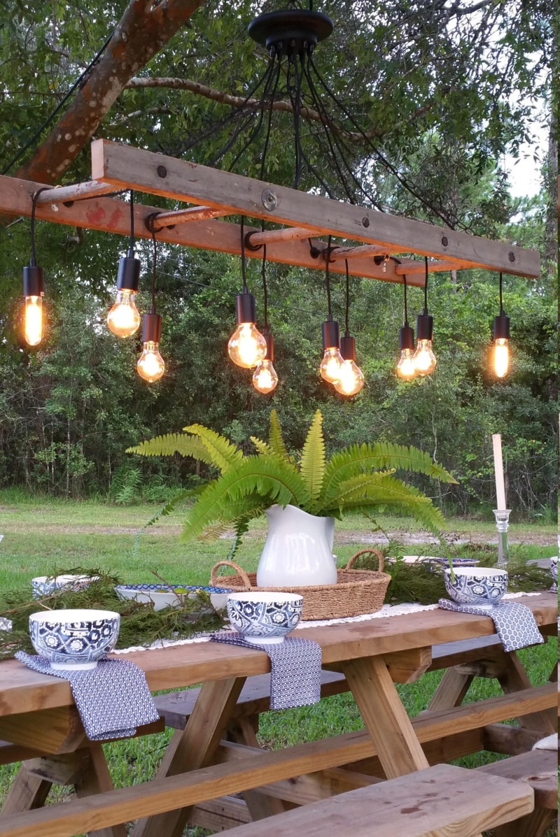 Outdoor Antique Farmhouse Ladder Chandelier With Vintage