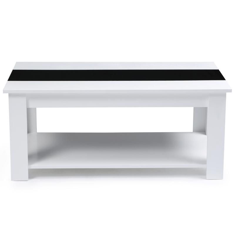 table basse noire et blanche pas chere