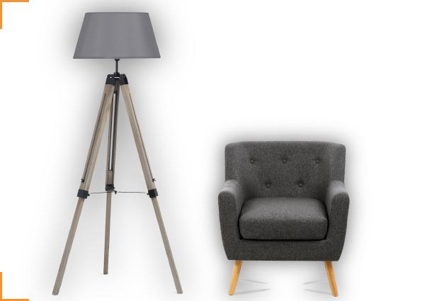 1 lampadaire trepied bois fonce gris 1 fauteuil scandinave tissu