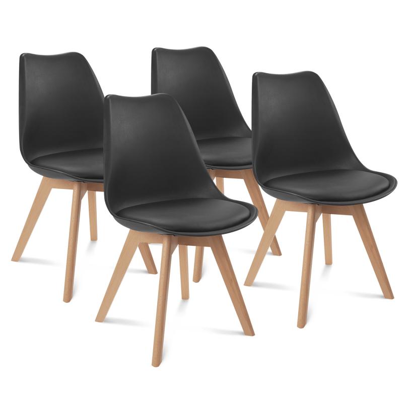 lot de 4 chaises sara noires pour salle a manger
