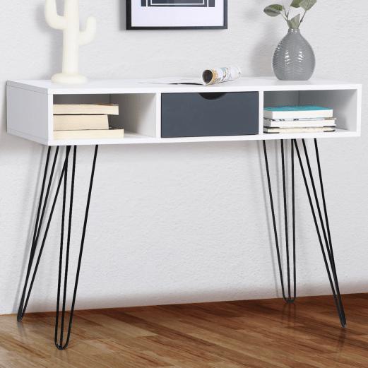 console vintage noemi 1 tiroir bois blanc pied epingle