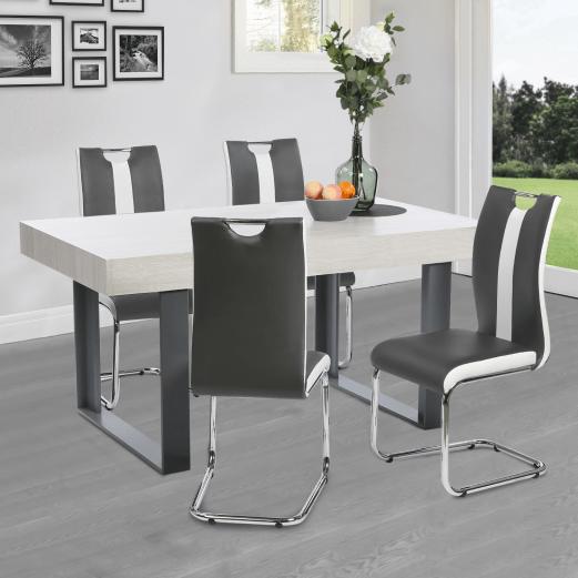lot de 4 chaises pia grises et blanches pour salle a manger