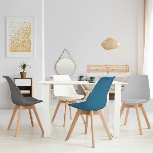 lot de 4 chaises sara gris fonce gris clair blanc et bleu