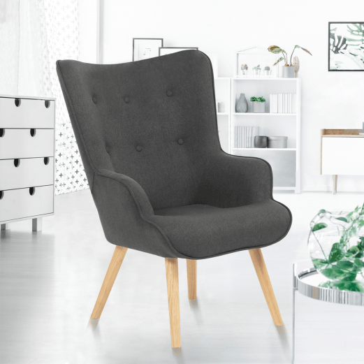 fauteuil scandinave ivar en tissu gris anthracite