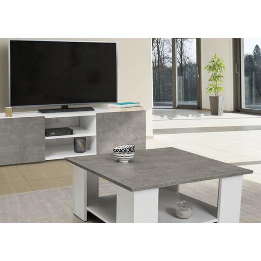meuble tv table basse blanche eli effet beton
