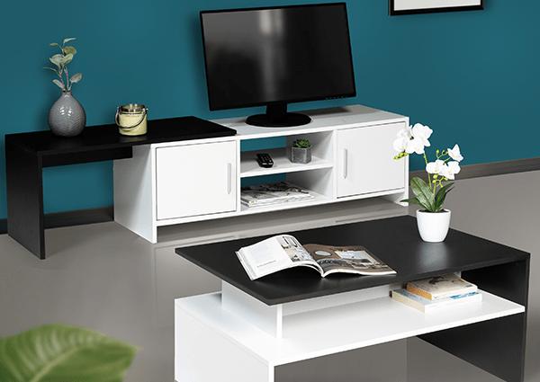 meuble tv extensible gabi blanc et noir