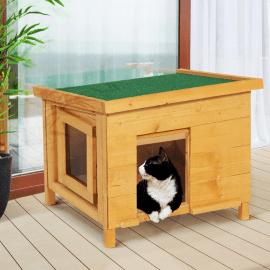maison pour chat niche en bois avec porte a lamelles