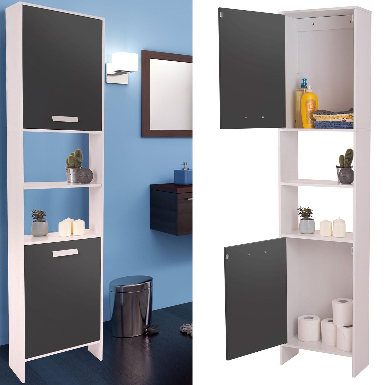 meuble colonne salle de bain design en bois blanc portes grises pr