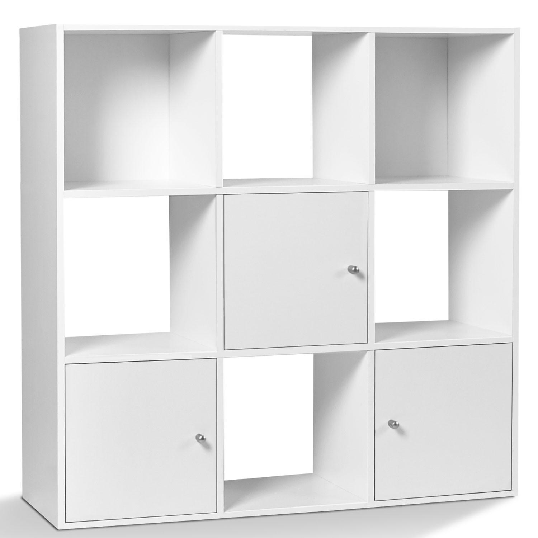 meuble de rangement cube rudy 9 cases bois blanc avec 3 portes idm