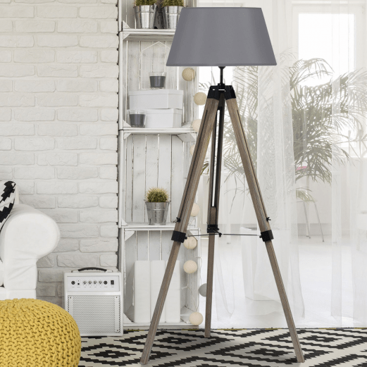 lampadaire trepied bois fonce reglable gris