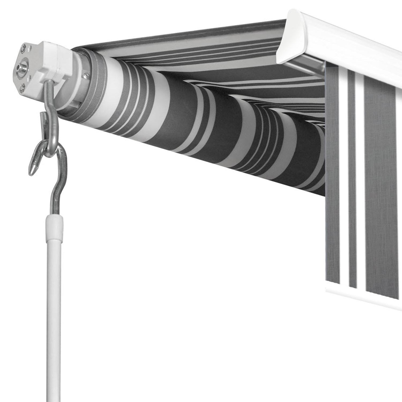 store banne manuel 3 95 m x 3 m raye gris blanc idmarket