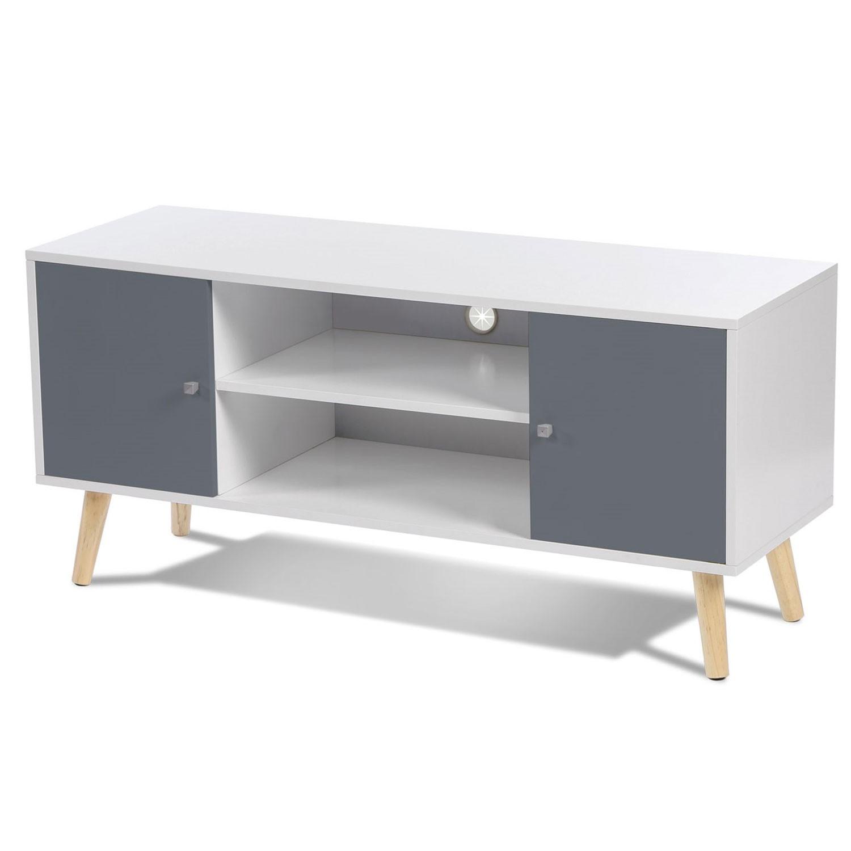 meuble tv effie scandinave 2 portes bois blanc et gris idmarket