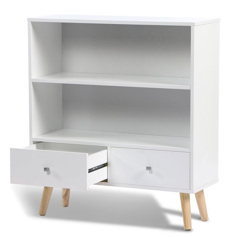 bibliotheque scandinave bois blanc pas