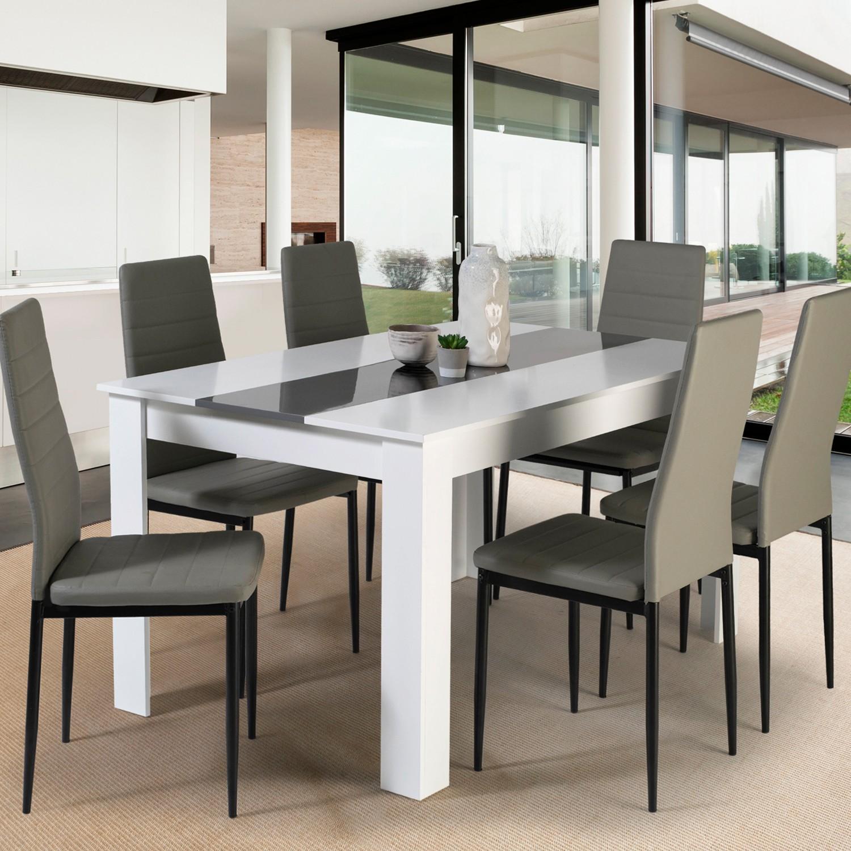 table a manger georgia 6 personnes blanche et grise 140 cm idmarket
