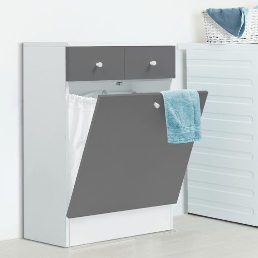 meuble avec bac a linge integre en bois gris blanc