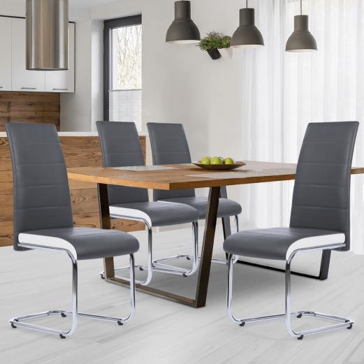lot de 4 chaises mia grises lisere blanc pour salle a manger