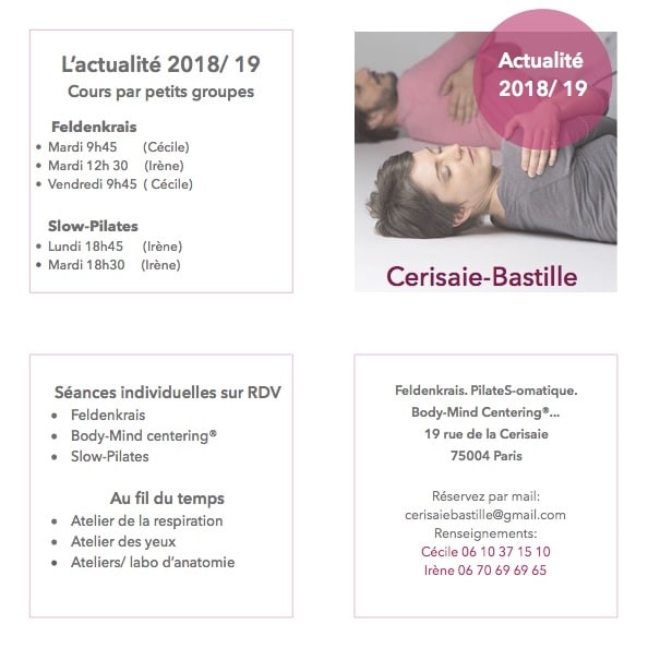 Le programme de la Cerisaie Bastille pour l'année 2018-2019 (recto)