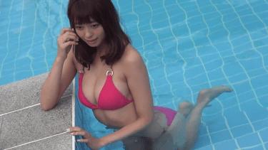 【大川藍】Eカップ2 濡れTシャツ黄ビキニとピンクビキニ
