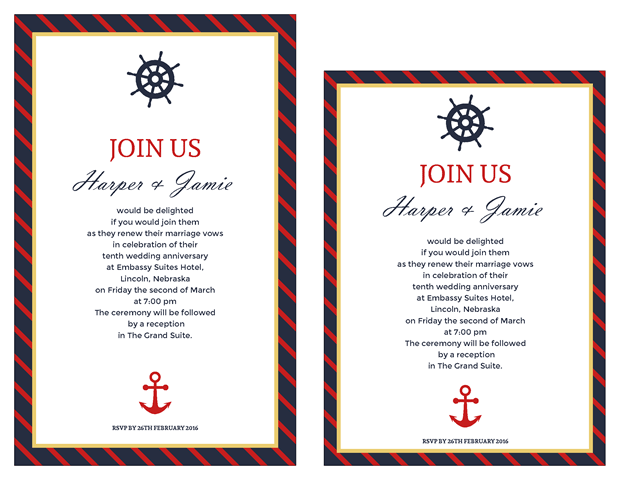 Free Vow Renewal Invitation Suite Clic Nautical Theme Wedding Invitations