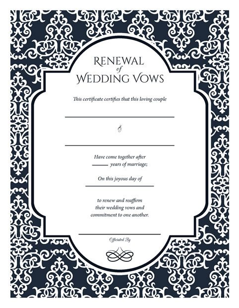 Free Printable Baroque Navy Renewal Of Wedding Vows Certificate Vow
