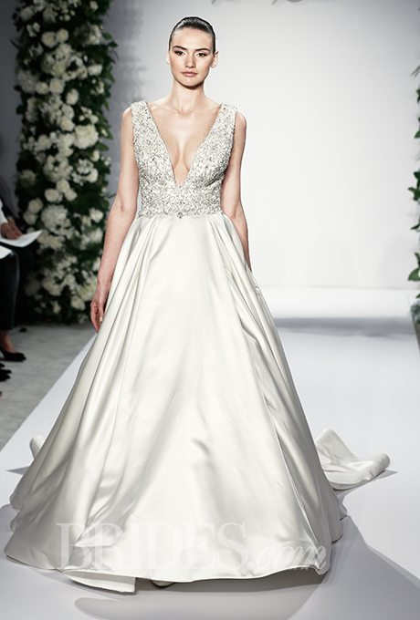 Daring v neck wedding gowns for your second time around for Around the neck wedding dresses