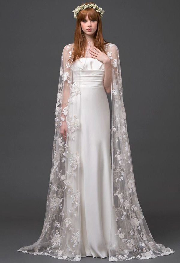 Draped And Bohemian This Lace Cape Is A Stunner All On Its Own Paired With Simple Silk Gown The Perfect Topping To Bridal Look That You Want