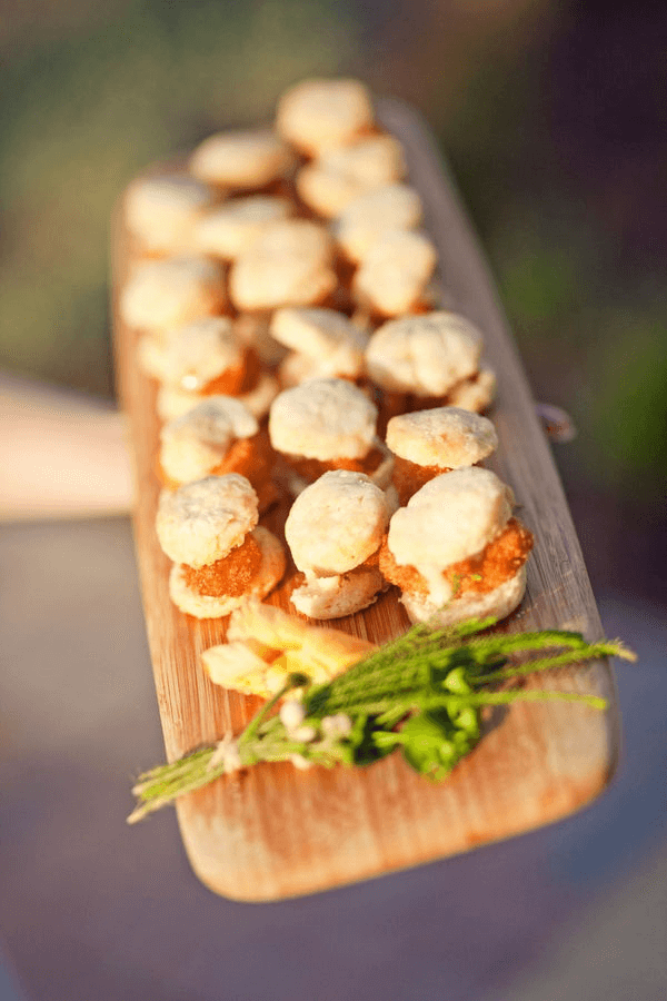 Chicken and Biscuits on Wooden Platter