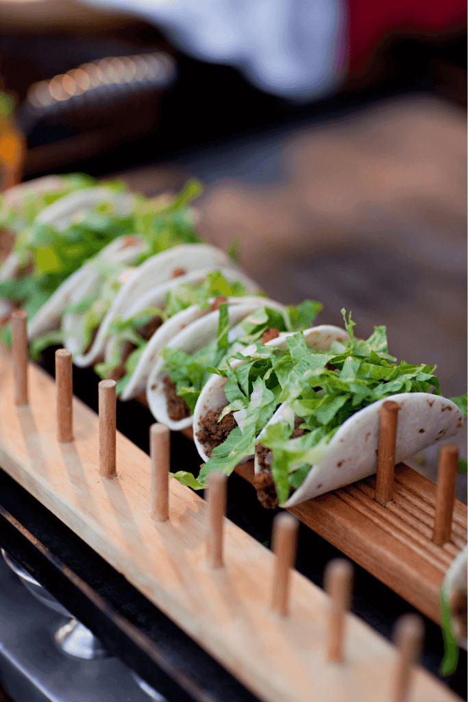 Tiny Tacos on Wooden Platter