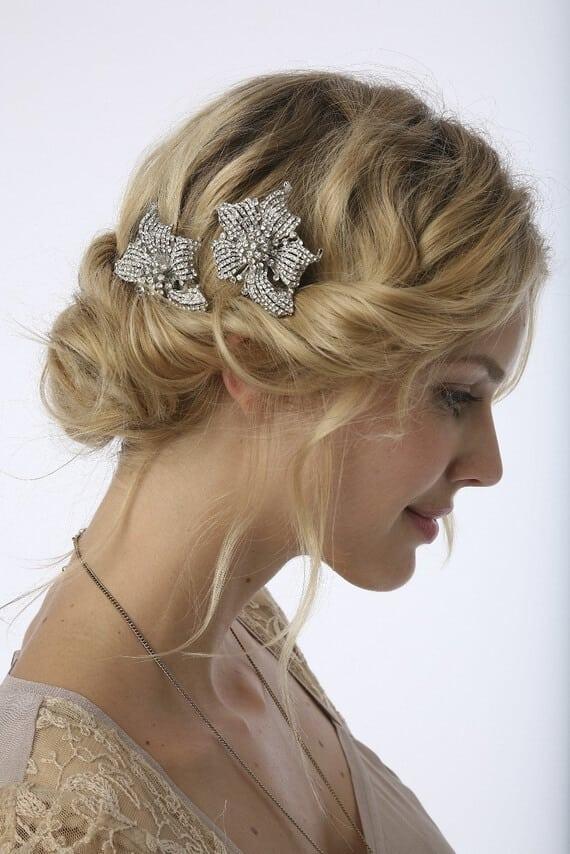 Vintage rolled wedding hairstyle