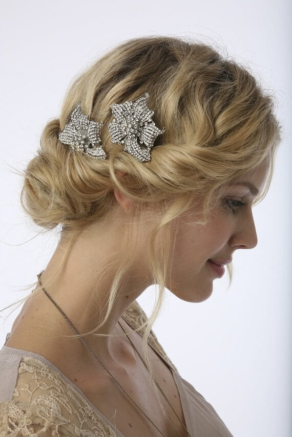 Vintage rolled wedding hairstyle