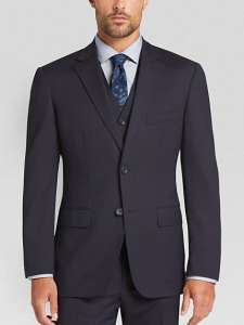 Awearness Kenneth Cole Navy Stripe Slim Fit Vested Suit