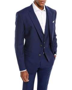 BOSS Men's Tonal Grid Wool Three-Piece Suit