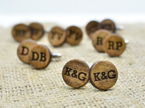 wooden cufflinks for groomsmen