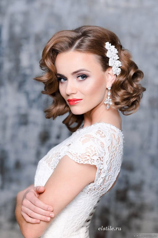 natural eyes and bright lip bridal makeup