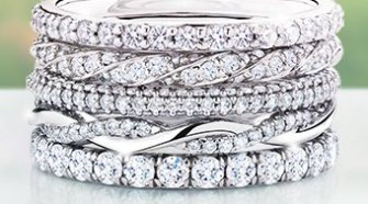 stacks of wedding bands