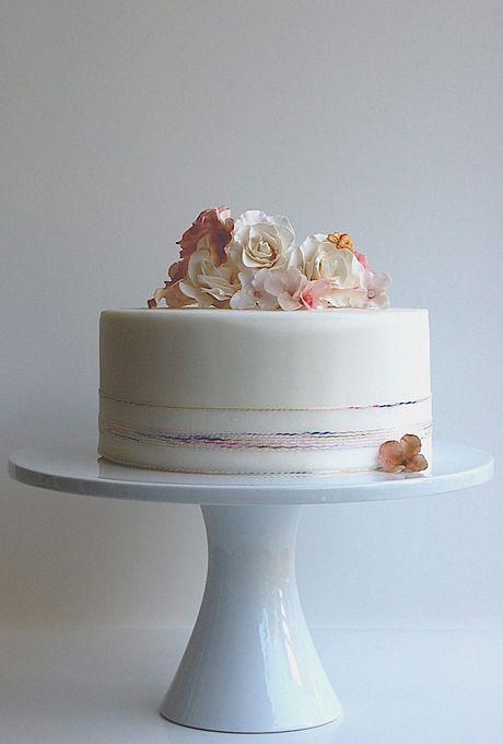 Simple Single Tier White Wedding Cakes Part 2