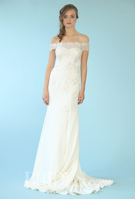 Sleek sheath wedding gowns for older brides for Sleek wedding dresses with sleeves