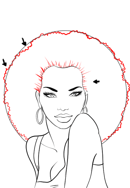 How-to-draw-afro-hair-in-fashion-design-sketches-step-3