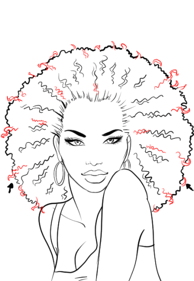 How-to-draw-afro-hair-in-fashion-design-sketches-step-6