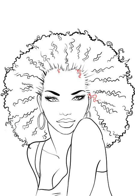 How-to-draw-afro-hair-in-fashion-design-sketches-step-7