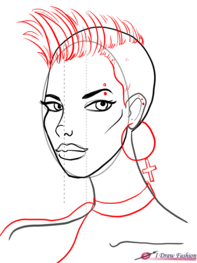 How to draw 3-4 view face in fashion design sketches step 9