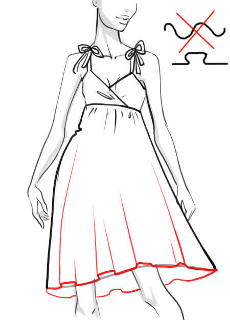 how to draw a dress skirt folds