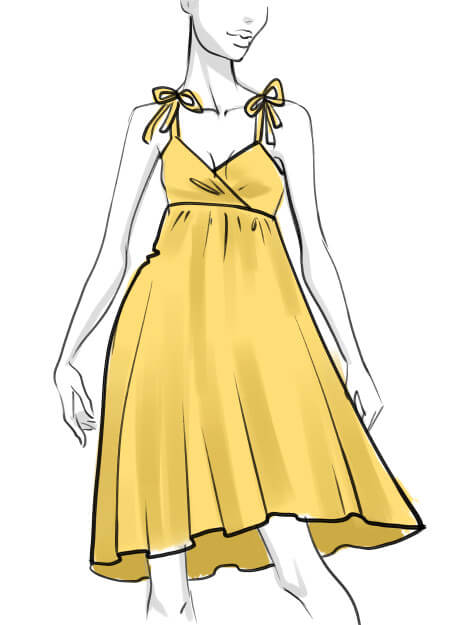 Fashion sketch coloring the dress in light yellow color
