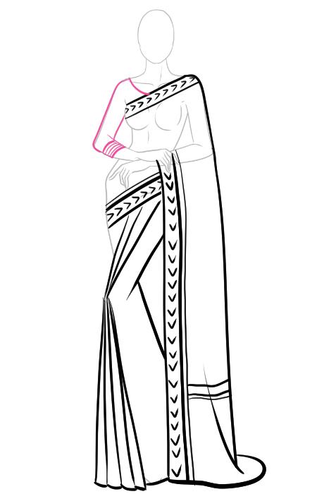 How to draw a saree 9