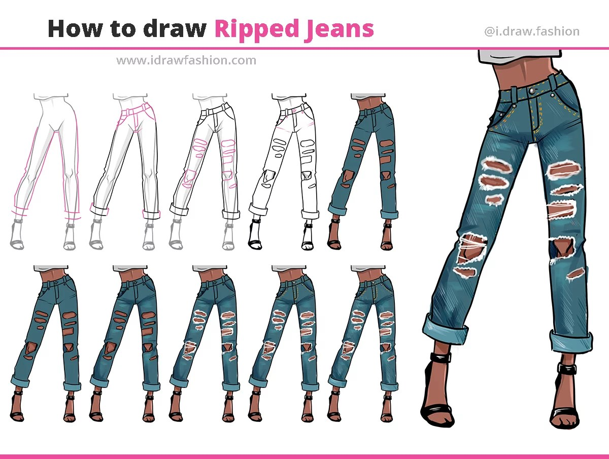 how to draw ripped jeans step-bys step tutorial
