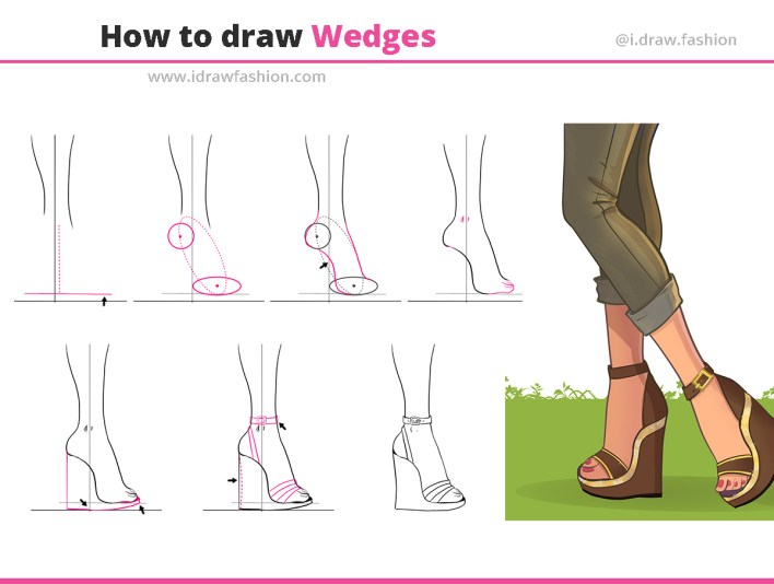 how to draw wedges step by step tutorial for fashion design drawing