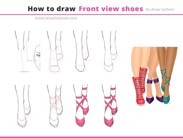 How to draw front view shoes 1