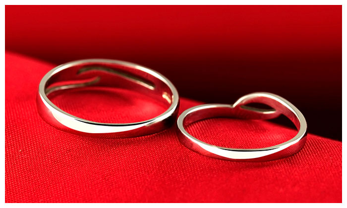 Simple Wave Couple Promise Rings Set For Women And Men
