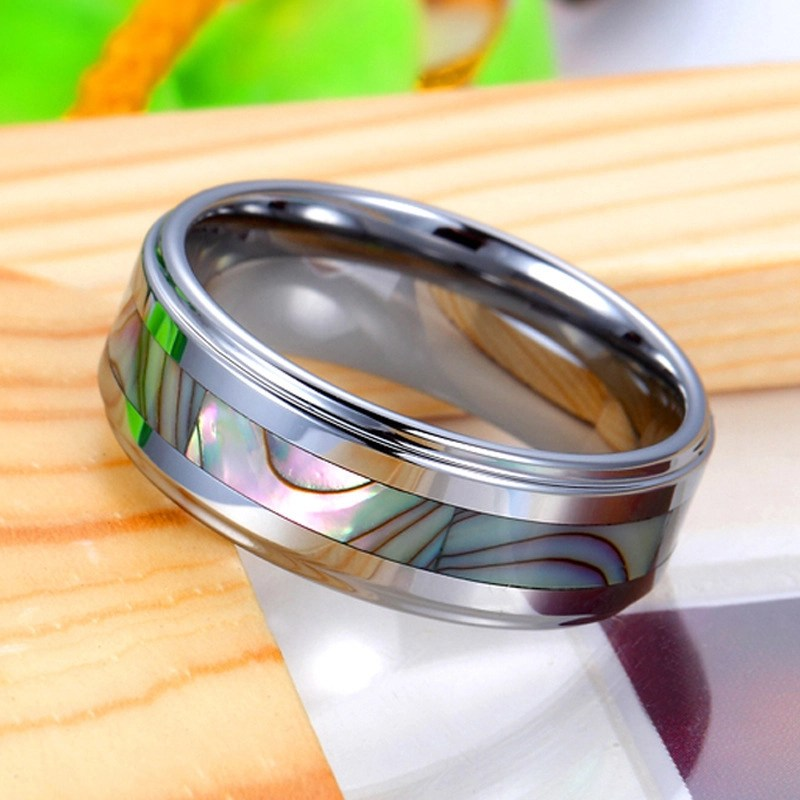 Mother Of Pearl Inlay Tungsten Wedding Band Unique