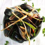 Fresh Mussels with a Spicy Beer Broth, Spanish Chorizo, and Fried Leeks, Quick and Easy Dinner